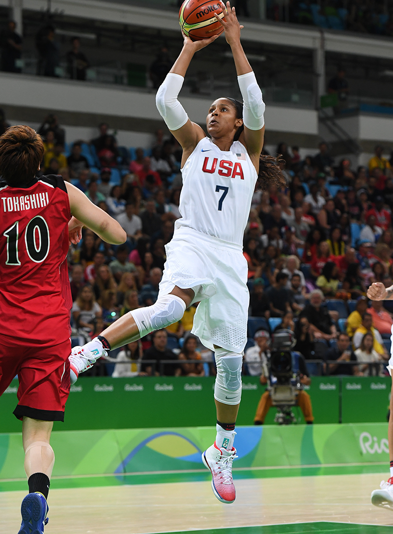 Shooting 3-of-3 from behind the arc, Maya Moore tied the U.S. women's Olympic record for 3-point percentage.