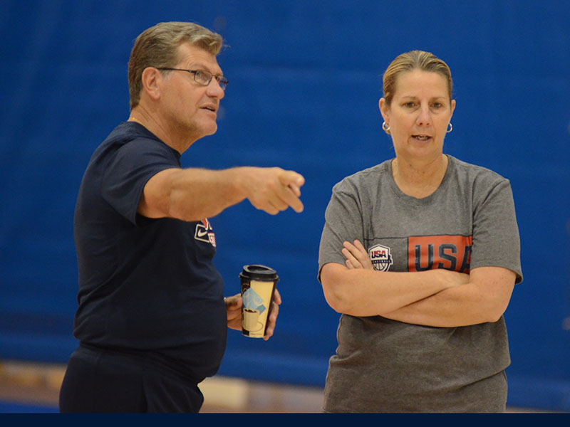 USA head coach Geno Auriemma and assistant coach Cheryl Reeve