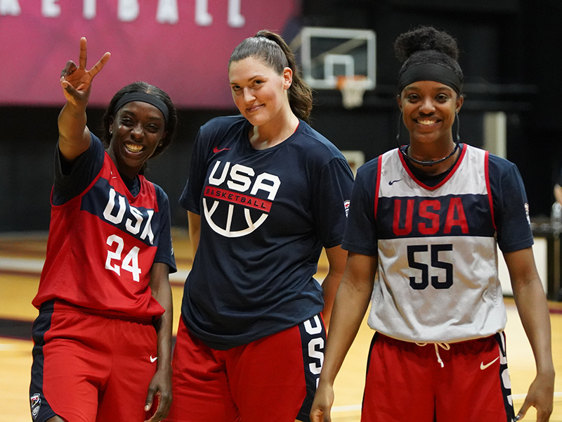 Chicago Sky teammates Kahleah Copper (left to right) Stefanie Dolson and Diamond DeShields.
