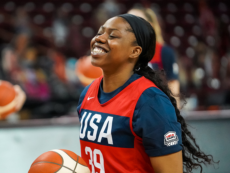 Arike Ogunbowale loves being back on the floor with the USA National Team.