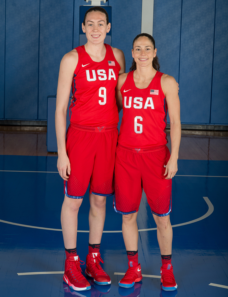 Former UConn players and WNBA No. 1 Draft picks by the Seattle Storm, Breanna Stewart and Sue Bird.
