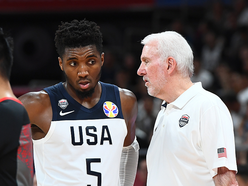 Donovan Mitchell and Gregg Popovich
