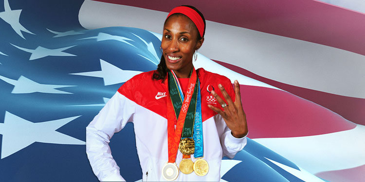 Lisa Leslie pictured with her four gold medals.