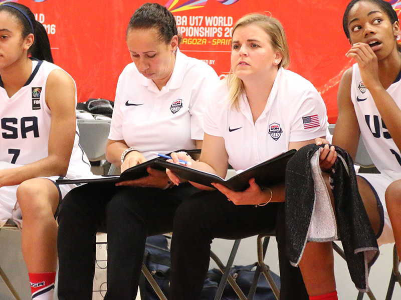 USA assistant coaches Dianne Lewis (Thomas Edison H.S., VA) and Samantha Quigley (University of St. Francis, IL)