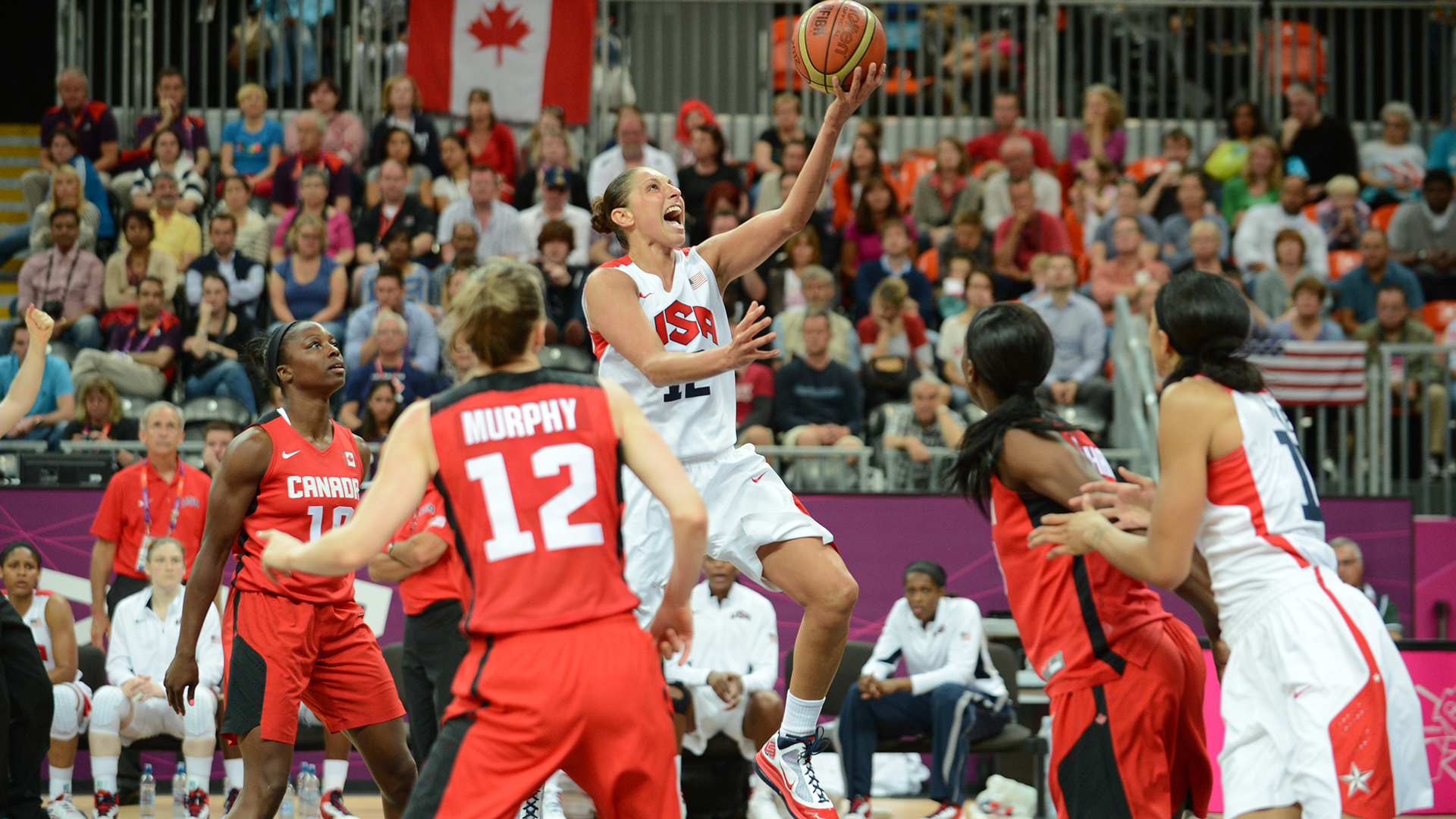 Diana Taurasi goes in for a shot versus Canada