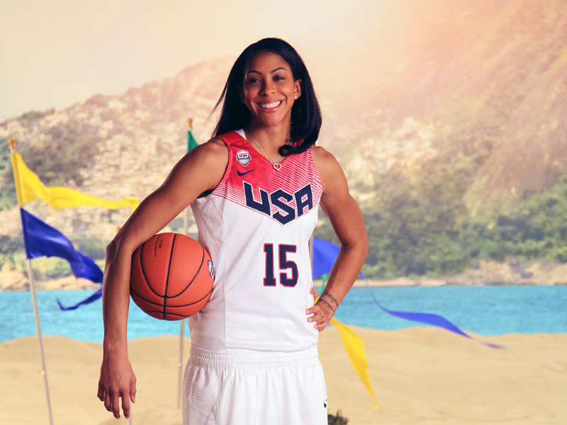 Candace Parker on the Rio set