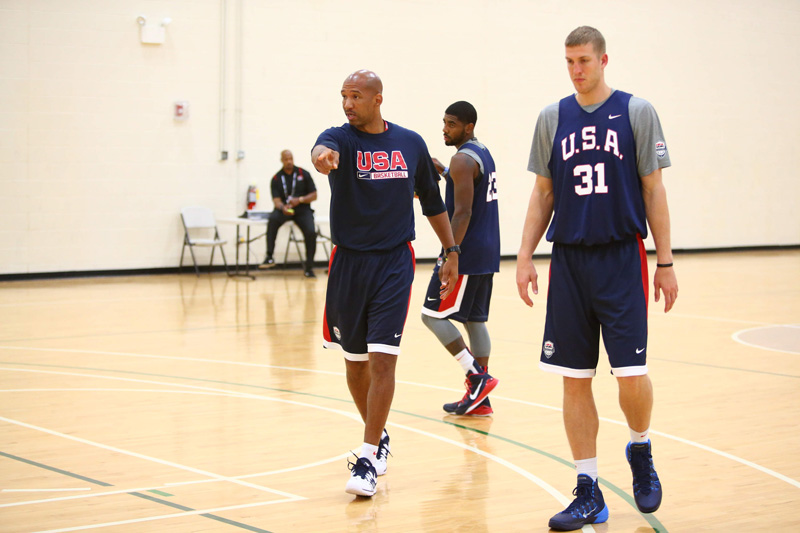 USA assistant coach Monty Williams and forward Mason Plumlee