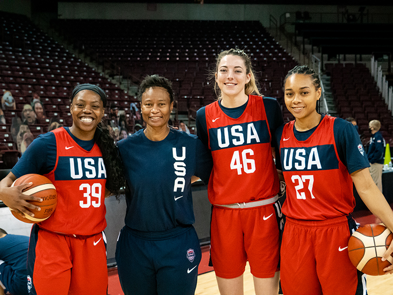 Representing the Dallas Wings are (left to right) Arike Ogunbowale, Vickie Johnson, Katie Lou Samuelson and Allisha Gray.