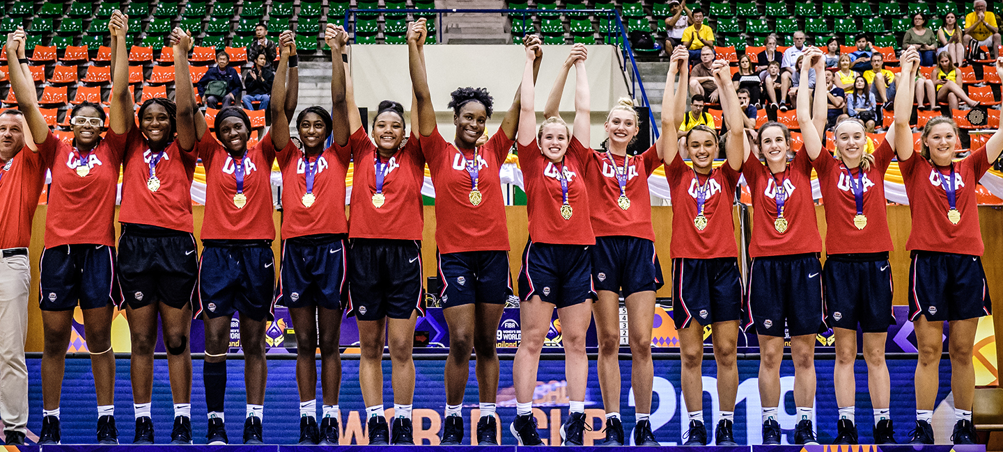2019 USA Women's U19 World Cup Team on the gold medal stand.