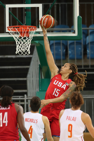 Brittney Griner hit 5-of-6 field goals for 10 points to go with a pair of steals and a blocked shot.