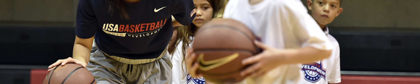 youth at a USA Basketball clinic