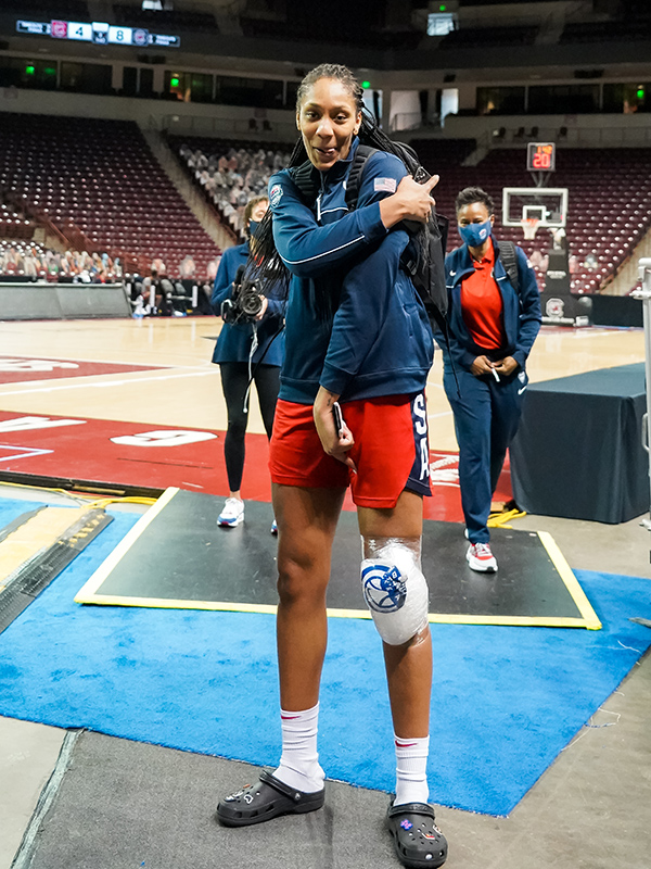 A'ja Wilson, a 2018 FIBA World Cup gold medalist, enjoyed practicing on her former home court.