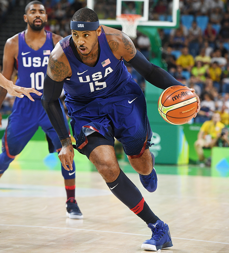 USA veteran Carmelo Anthony had nine points and seven boards.