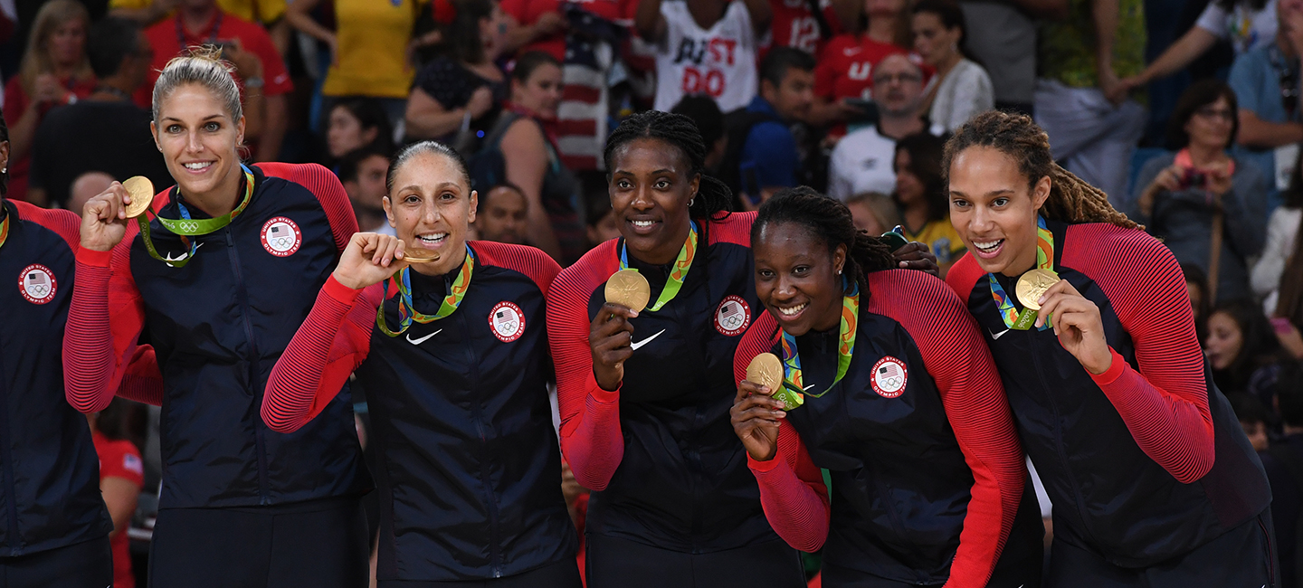 Brittney Griner, Elena Delle Donne, Tina Charles, Diana Taurasi, Sylvia Fowles with 2016 Olympic gold medals