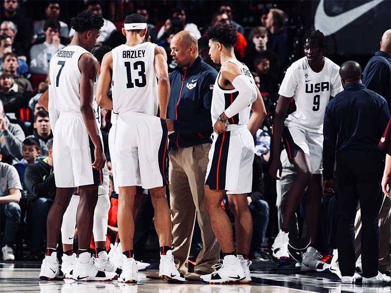 2018 Nike Hoop Summit huddle