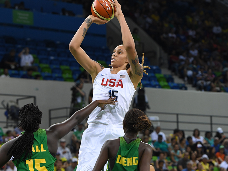 Debuting in the Olympics against Senegal, Brittney Griner produced 14 points, seven rebounds and a pair of blocked shots.