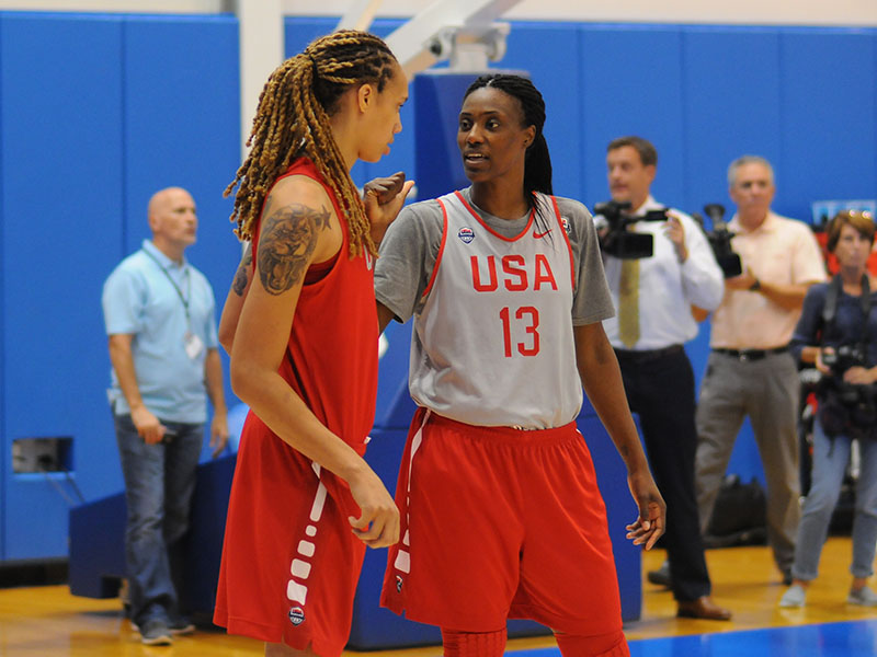 USA centers Brittney Griner and Sylvia Fowles take five during practice.