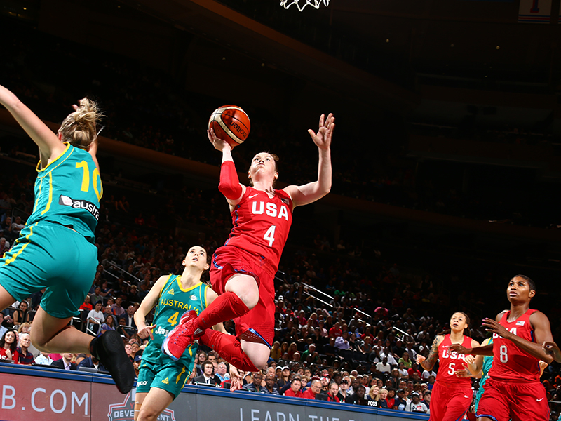 Lindsay Whalen soars to the hoop for two of her eight points.