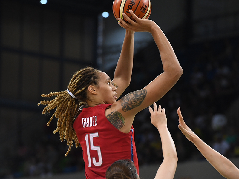 Brittney Griner was 9-of-11 from the field and had an 18-point, 13-rebound double-double. Her 13 rebounds came three shy of the USA's single-game Olympic rebounding record.