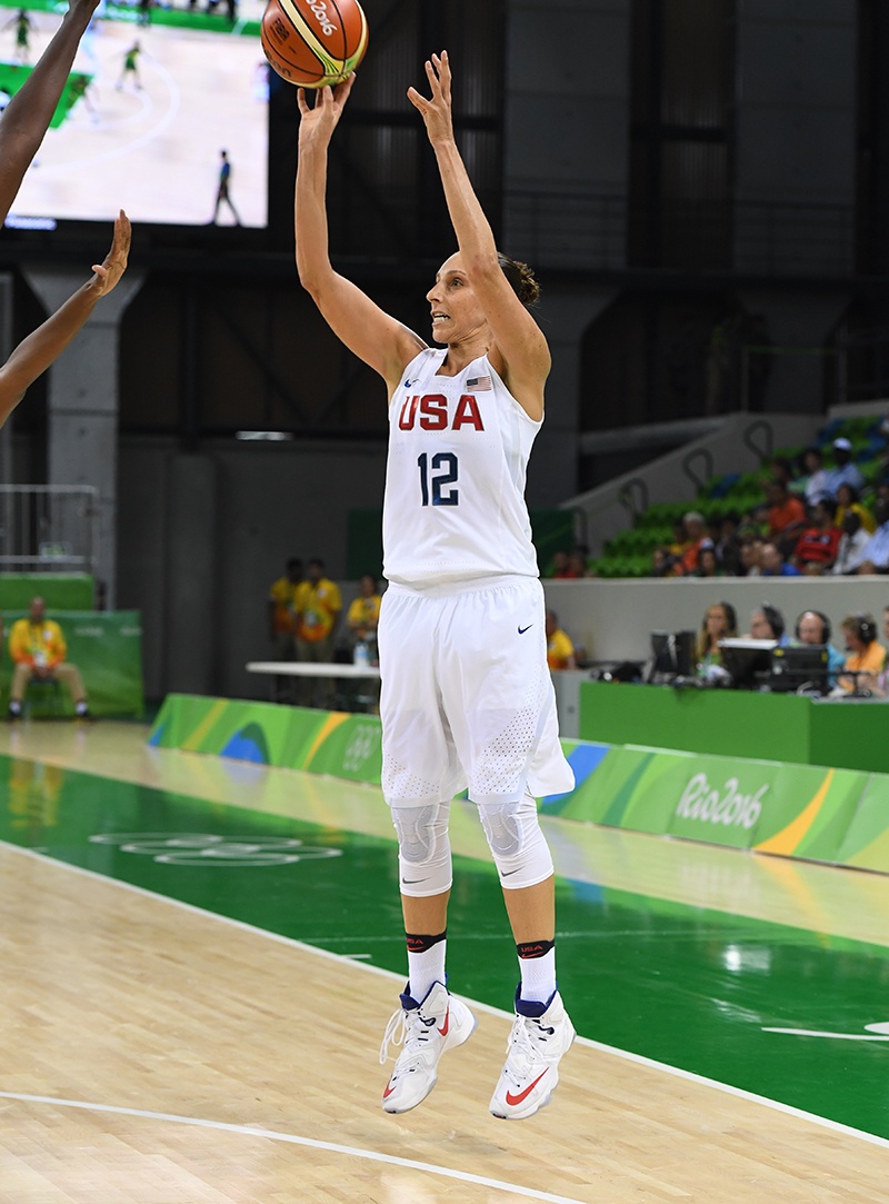 Diana Taurasi tied her own U.S. Olympic single-game record with five made 3-pointers and finished the game with 15 points and three assists.