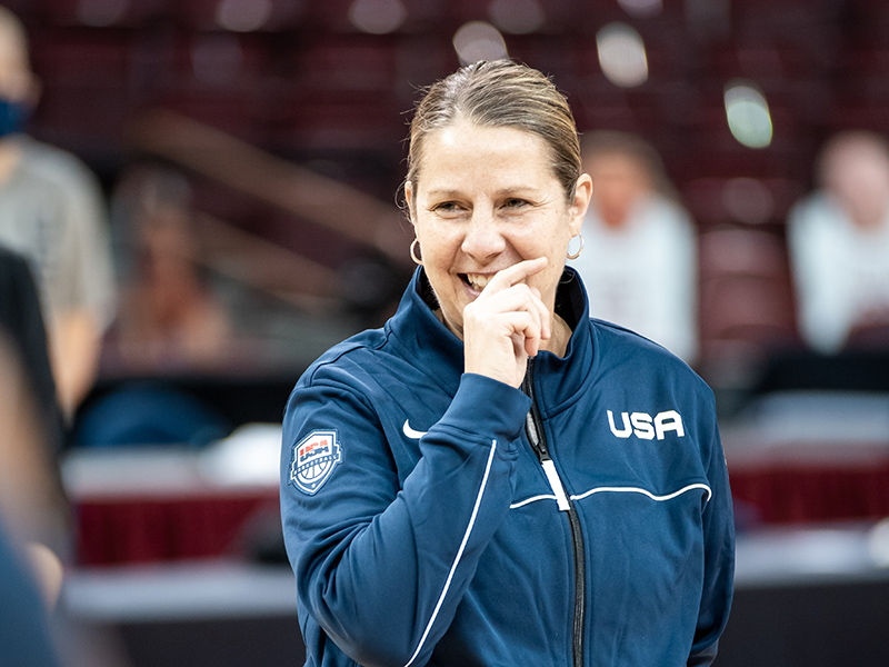Cheryl Reeve stood in as lead coach in USA head coach Dawn Staley's absence.