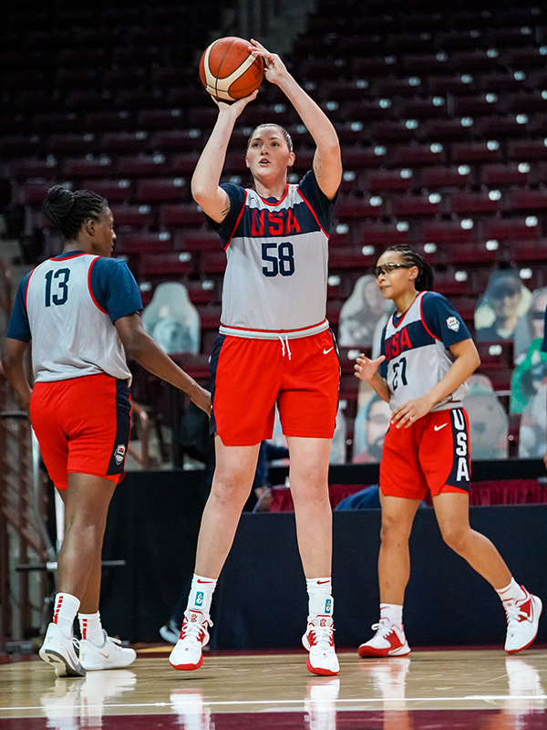Stefanie Dolson puts up two points during a USA drill.