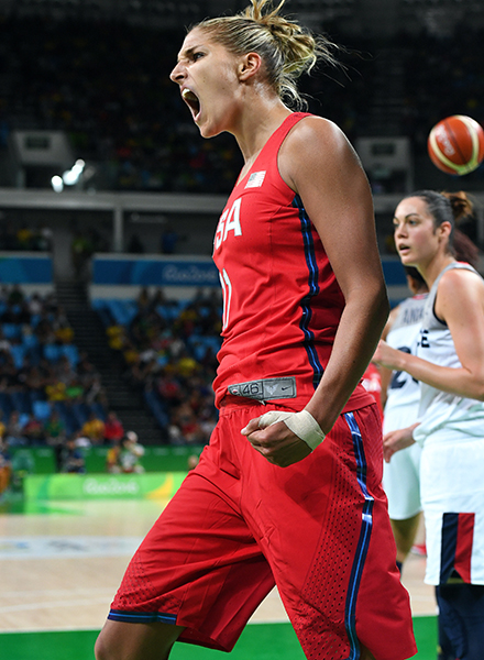 Elena Delle Donne shows her emotions following a great play.