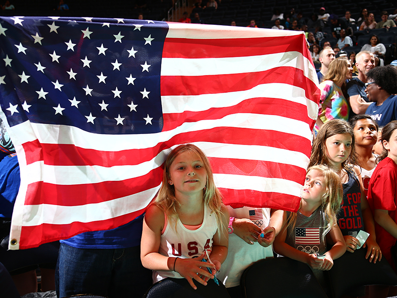 The USA played in front of a crowd of 13,520, including these young fans.