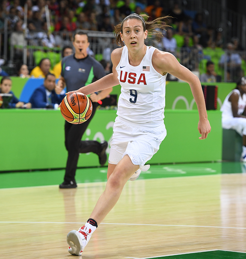 In her Olympic debut, Breanna Stewart shot 5-of-6 from the field and tied as the game's leading scorer with 15 points.