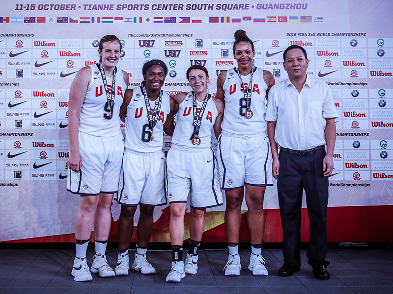 The 2016 USA 3x3 World Championship Team, comprised of (L-R) Florida State University's Chatrice White, Ohio State University's Linnae Harper, University of Washington's Natalie Romeo and University of South Carolina's Alexis Jennings, brought home the bronze medal from the 2016 FIBA 3x3 World Championship.