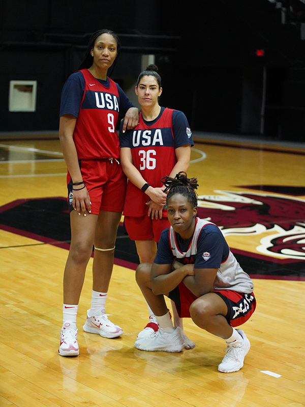Las Vegas Aces A'ja Wilson left to right Kelsey Plum and Chelsea Gray strike a pose.