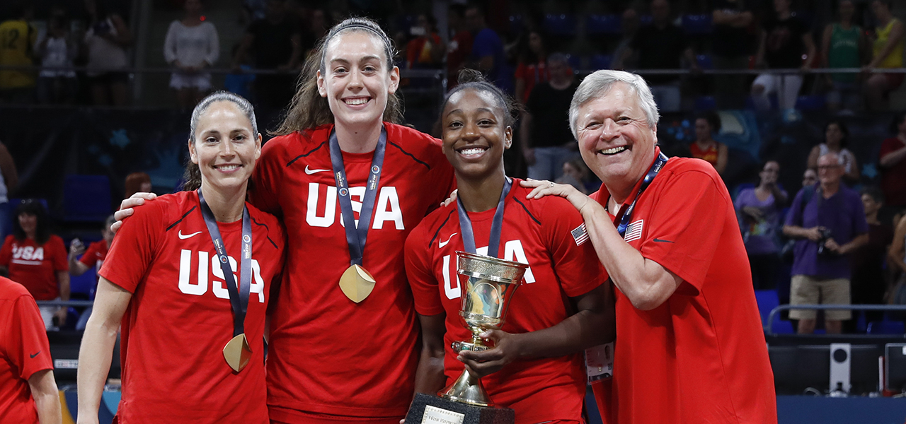 Sue Bird, Breanna Stewart, Jewell Loyd, Dan Hughes