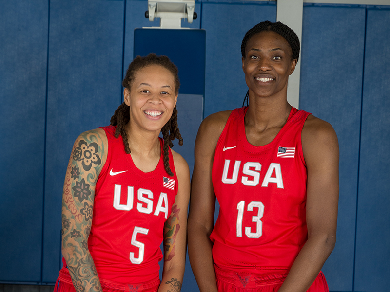 Louisiana State University alums Seimone Augustus and Sylvia Fowles