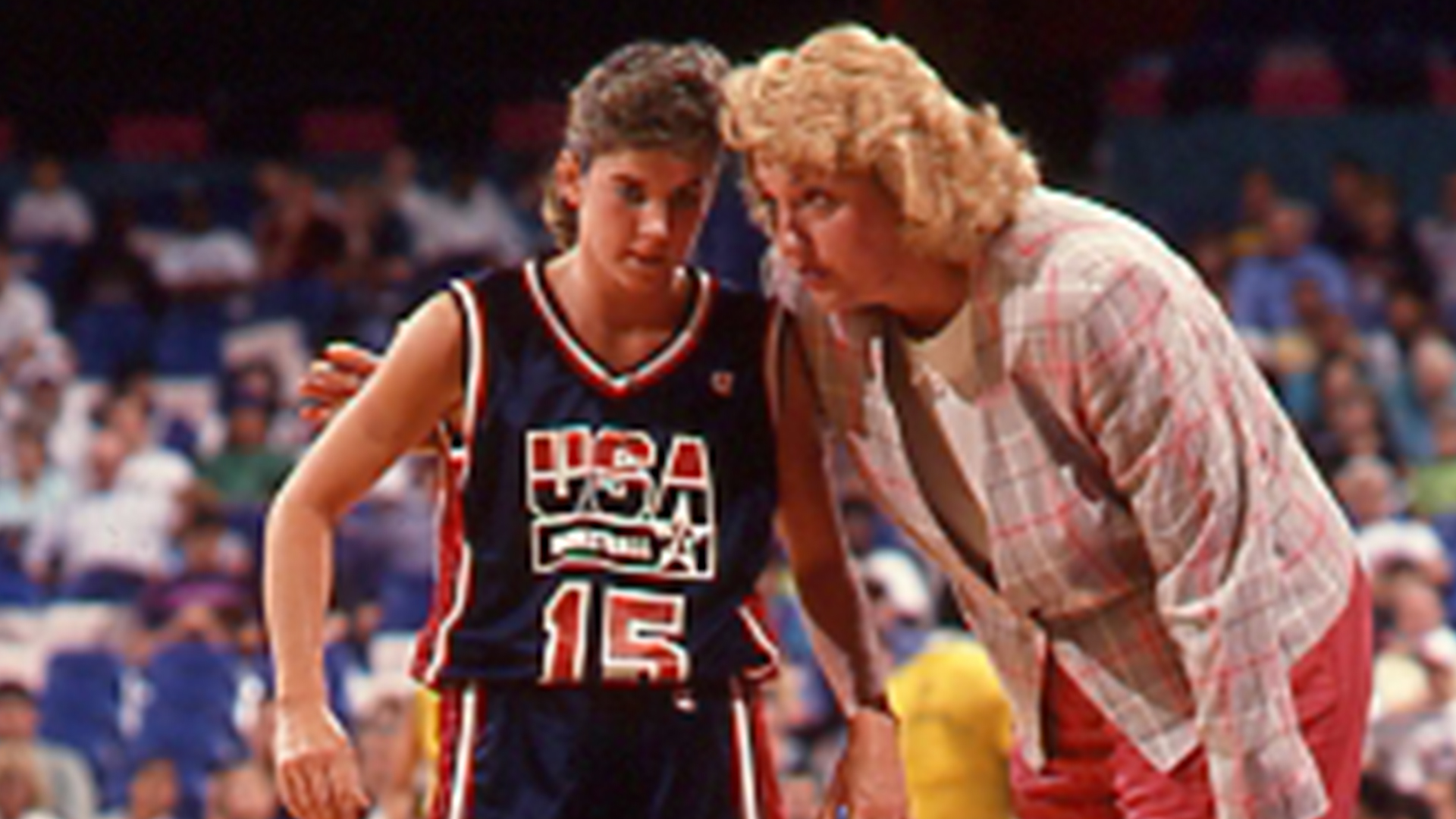 Theresa Grentz talks on the sideline in the 1992 Olympics