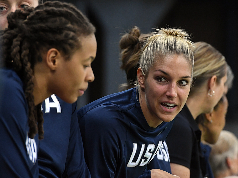 Elena Delle Donne got hit around the eye during warm-ups and cheered on her teammates from the bench.